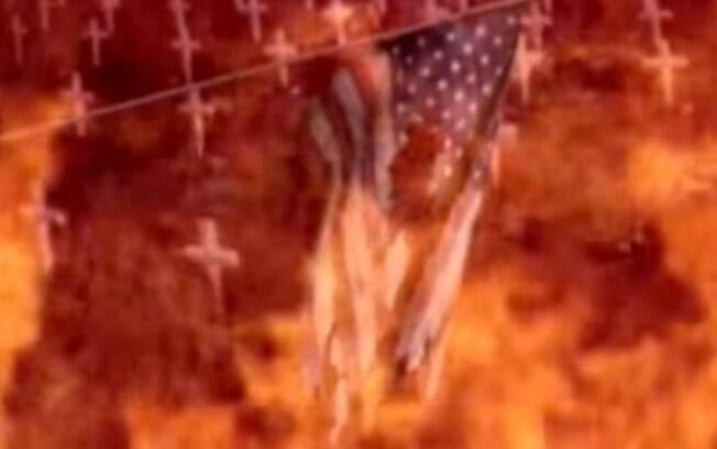 Bandeira norte-americana aparece em chamas em vídeo divulgado pela ditadura de Kim Jong-Un