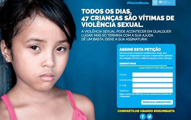 Campanha que pede o fim da violência sexual contra crianças e adolescentes já recolheu mais de 13 mil assinaturas