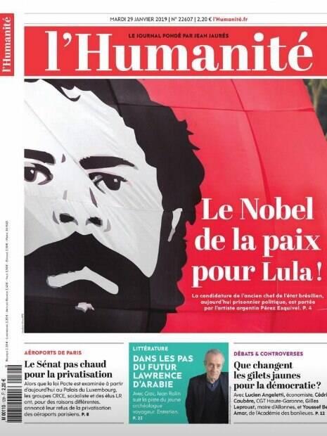 Jornal francês abraça indicação de Lula ao Nobel da Paz e estampa rosto do ex-presidente