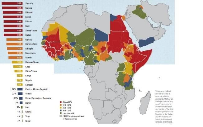 Mapa dos países com maior número de mulheres e crianças submetidas à mutilação genital na África
