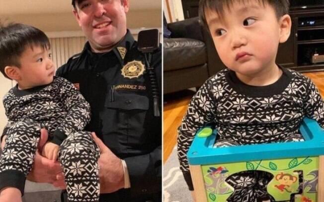 A mãe precisou chamar a polícia para ajudá-la com o filho que ficou entalado no brinquedo