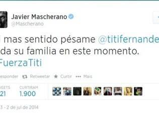 Mascherano, do Barcelona, também desejou força ao pai da jornalista, Titi Fernandez