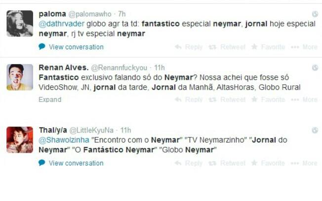 Telespectadores usam as redes sociais para criticar overdose do assunto Neymar no