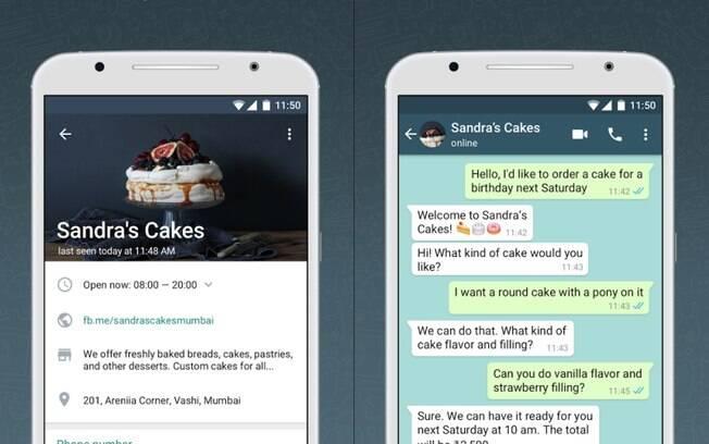 WhatsApp Business exibe informações sobre as empresas, como descrição, e-mail, endereço e horáiro de funcionamento