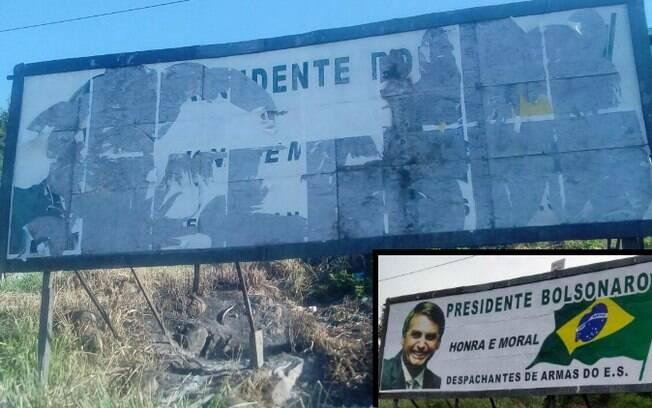 Outdoor em apoio a Jair Bolsonaro foi vandalizado em Vila Velha, no Espírito Santo