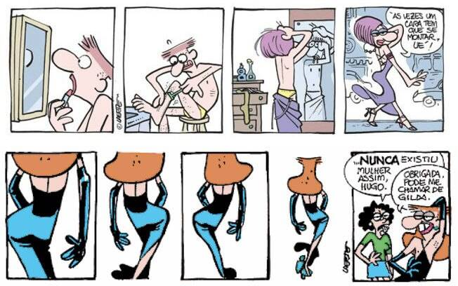 O processo de transgeneridade de Larte apareceu nas tirinhas do personagem Hugo Baracchini, feitas para o jornal Folha de S. Paulo
