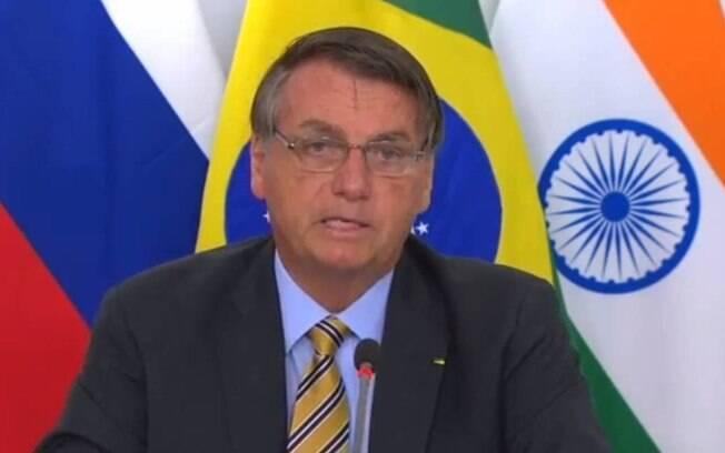 Presidente Jair Bolsonaro (sem partido) durante a participação na cúpula do BRICS