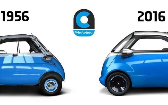 Na esquerda, o Isetta original, na direita sua reimaginação.