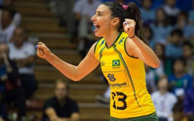 Shiella: jogadora da seleção brasileira de vôlei deve ser poupada do Pan de Toronto para jogar o Grand Prix. Foto: Divulgação/FIVB