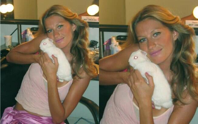 Gisele Bündchen abraça coelhinho em foto