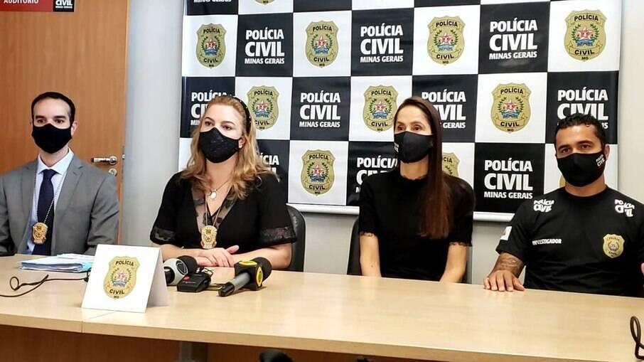 Coletiva de imprensa com autoridades para esclarecem o caso de feminicídio