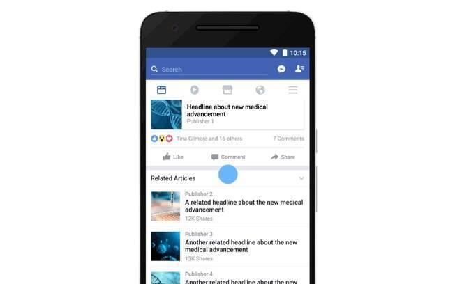 Mudança na área de artigos relacionados não é a primeira apresentada pelo Facebook para evitar as notícias falsas