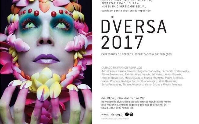Convite Mostra Diversa 2017 - 17 novos artistas celebrando a diversidade sexual