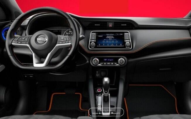 O interior é o mesmo da versão padrão, mas segue a proposta colorida adotada no mercado norte-americano