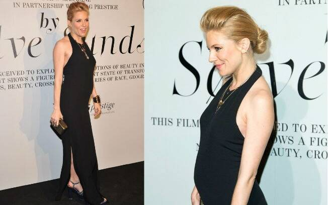 Sienna Miller exibe barriguinha de grávida pela primeira vez em festa em Nova York, nessa terça-feira (14)