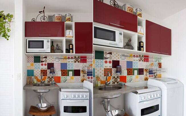 decoracao kitnet praia:Sobras de azulejos diversos trazem alegria para a cozinha planejada