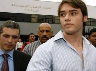 Thor Batista, filho do empresário Eike Batista, na 2ª Vara Criminal de Duque de Caxias, na Baixada Fluminense, onde participou de sua primeira audiência