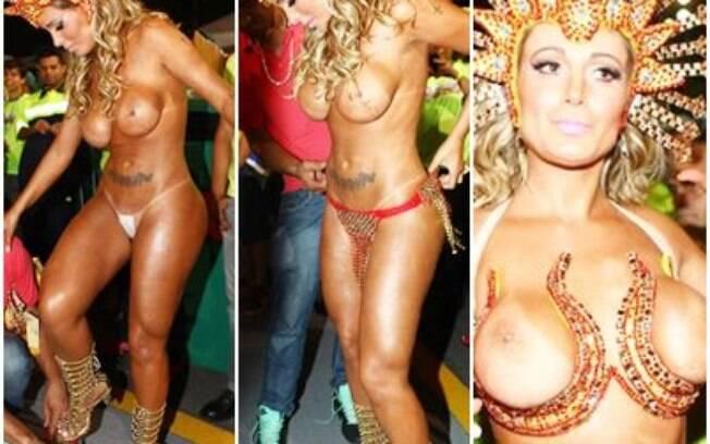 Andressa Urach na concentração da Leandro de Itaquera apenas de tapa-sexo. Foto: Reprodução