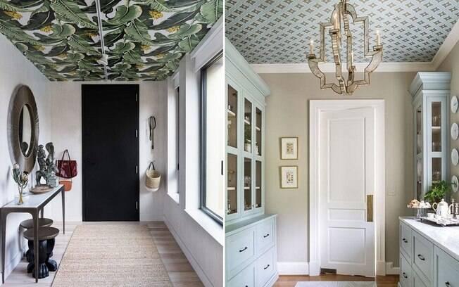 Dependendo da estampa e do cômodo escolhido, ele também pode ser aplicado no teto, trazendo um ar diferenciado