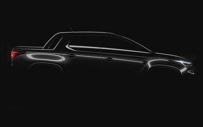 Fiat Strada 2021 também foi mostrada de perfil em um teaser oficial divulgado pela marca italiana