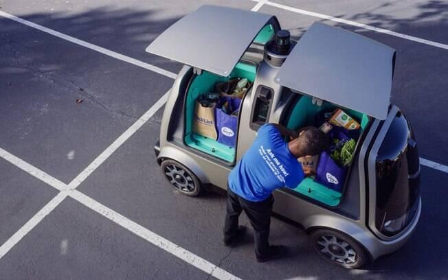 O veículo autônomo da Nuro terá compartimentos para colocar algumas sacolas e mochilas
