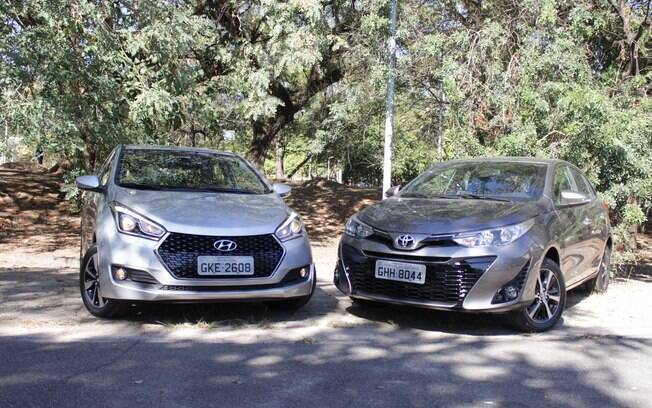 Toyota Yaris se destaca pelo baixo consumo e pela segurança na comparação com o rival Hyundai HB20 da linha 2019