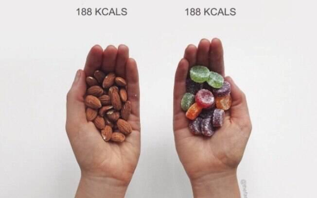 Se pensar apenas nas calorias, um punhado de amêndoas e um punhado de bala representa a mesma coisa para sua dieta
