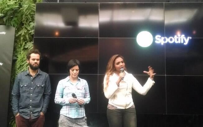 Marcelo Jeneci, Fernanda Takai e Gaby Amarantos participaram do lançamento do Spotify no Brasil