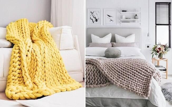 Macio e quentinho, o crochê gigante é ao mesmo tempo funcional e de bom gosto