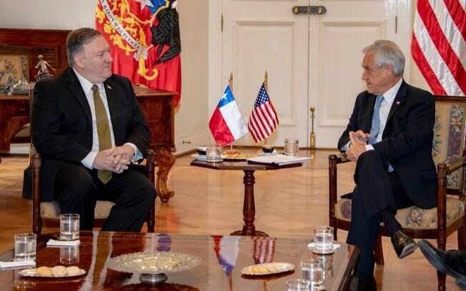 Secretário de Estado dos EUA, Mike Pompeo, e o presidente do Chile, Sebastián Piñera, conversaram sobre a situação da Venezuela