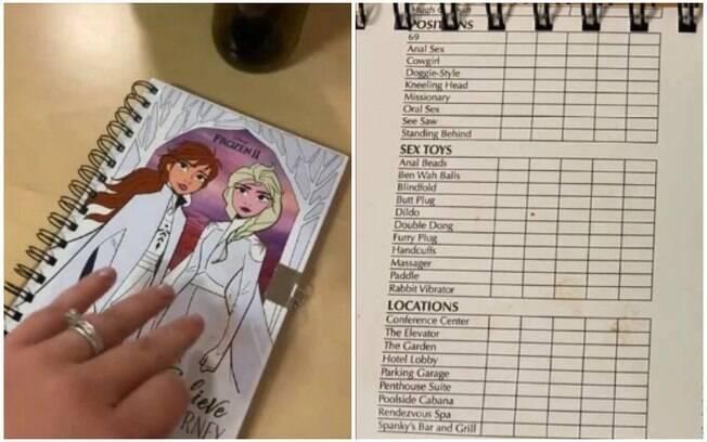 A agenda de Frozen II tinha posições explícitas e lista de brinquedos sexuais