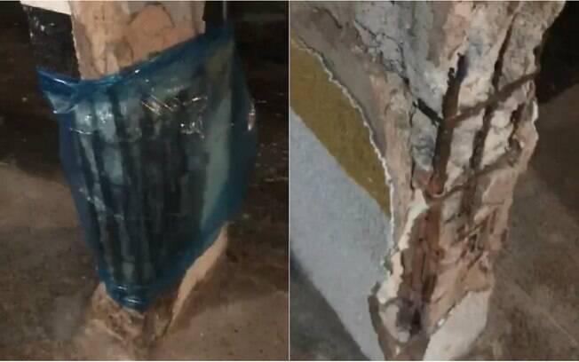 Vídeo registrado por moradores mostram colunas danificadas