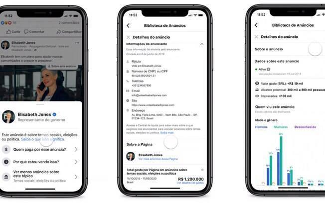 Facebook vai mostrar informações de anúncios políticos