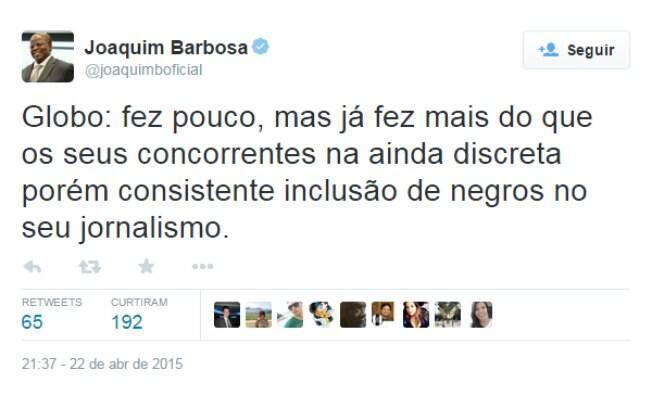 Um dos posts de Joaquim Barbosa no Twitter elogiando a Globo