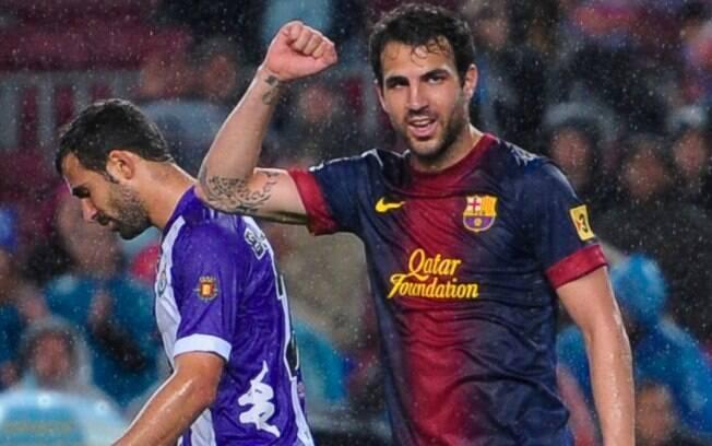 Fabregas faz festa no segundo gol do  Barcelona para cima do Valladolid no Espanhol
