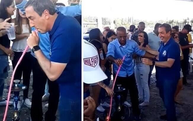 Candidato à reeleição em Mogi das Cruzes fumou narguilé e participou de festa durante campanha
