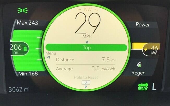 Painél - A cor amarela da barra do lado direito, indica consumo de eletricidade ao acelerar. A barra verde do lado esquerdo indica a quantidade de energia restante e a autonomia de 206 milhas