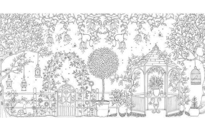 Desenho feito à mão por Johanna Bassford, em O Jardim Secreto