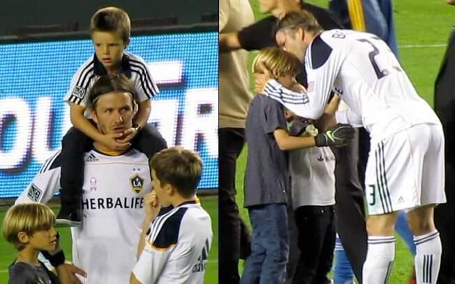 David Beckham ficou feliz com toda a sua família na torcida