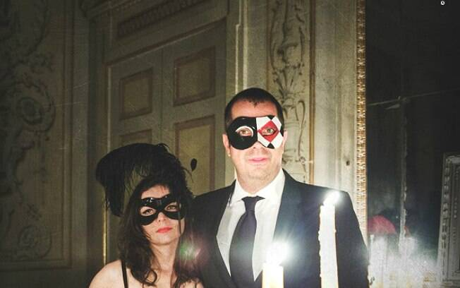 Marcos Nogueira e sua esposa na festa da Madame O em Cassano d'Adda, na Itália