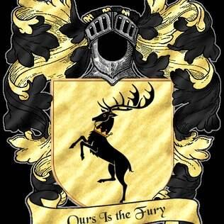 O brasão da Casa Baratheon é um veado de coroa