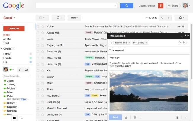 Nova página de composição de mensagens de e-mail aparece em formato pop-up, igual ao das conversas no Gtalk