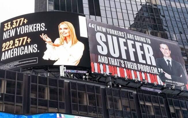 Outdoor colocado na Times Square, em Nova York crítica a 1ª dama americana Ivanka Trump