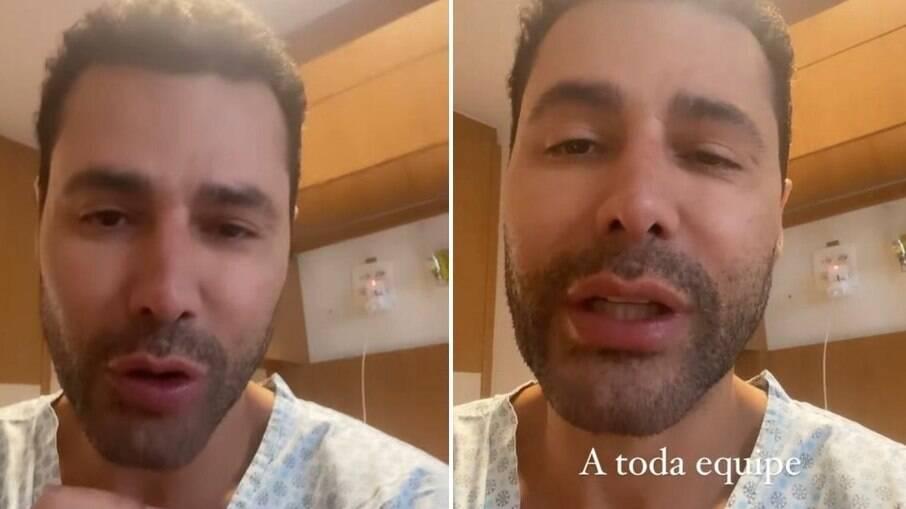 Rodrigo Sant'Anna agradece equipe médica ainda no hospital