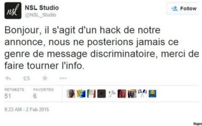 Empresa pede desculpas no Twitter pelo anúncio discriminatório e diz que foi 'hackeada'