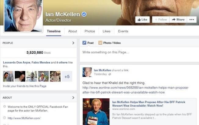 Em sua página no Facebook, Ian McKellen comemora a decisão do noivo