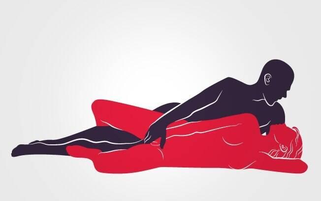 Posição relaxada: ele fica por trás, roçando o pênis no bumbum e coxas dela, enquanto estimula o clitóris.