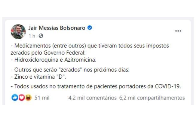 Bolsonaro fala sobre reduzir impostos de remédios contra a Covid-19
