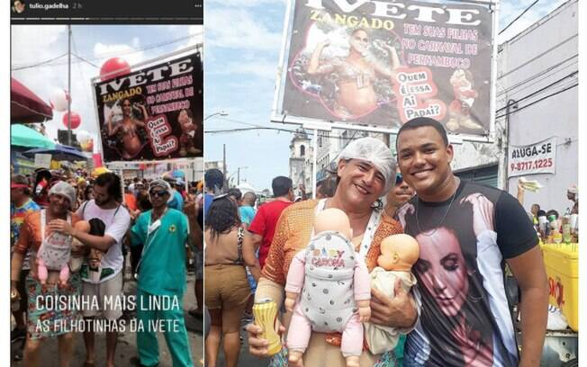 Tulio Gadelha ao lado de dupla que fez sucesso com fantasia de Ivete Sangalo e gêmeas no carnaval de Pernambuco
