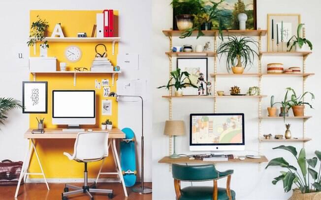 A cor demarca a área de trabalho de forma alegre e divertida, enquanto as plantas trazem vida e deixam o espaço mais agradável.